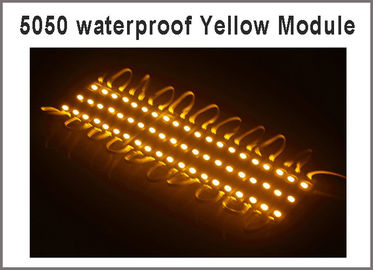 China La prenda impermeable brillante estupenda 20pcs/lot SMD 5050 el color amarillo IP65 de 3 módulos del LED llevó las lámparas DC12V para la cartelera distribuidor