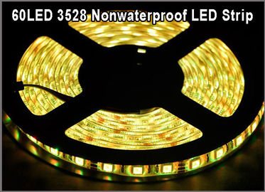 China 3528 color amarillo claro llevado flexible de la secuencia de la No-prenda impermeable IP20 los 60led/m SMD LED de la secuencia de la cinta para la decoración de la Navidad distribuidor